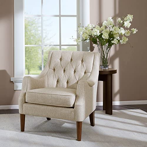 Madison Park Qwen Accent Chairs – Hardwood, Birch, Faux Linen Living Room Chairs – Cream Ivory, Vintage Classic Style Living Room Sofa Furniture – 1 Piece Diamond Tufted Bedroom Chairs Seats