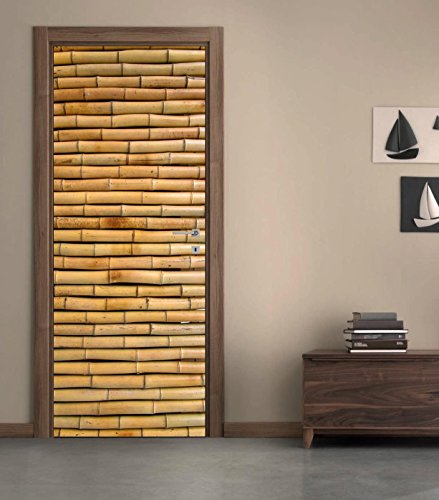 Bamboo 3D DOOR WRAP Decal Wall Sticker Home Decor Mural Art 230, 200x80 ()