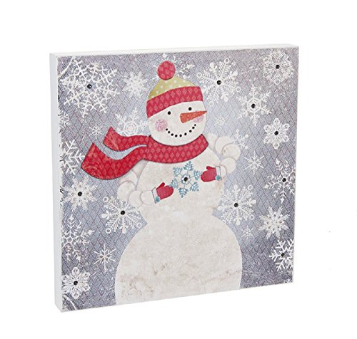 (Ganz Snow Day Wall Plaque Snowman with 12 LED Lights Home Accessories)