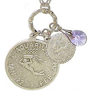 Mystical Sun Sign Horoscope Zodiac Pendants Necklace with Swarovski Crystal, USA