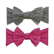 Baby Bling 2 Pack: Classic Knots Girls Baby Headbands - Grey/Hot Pink