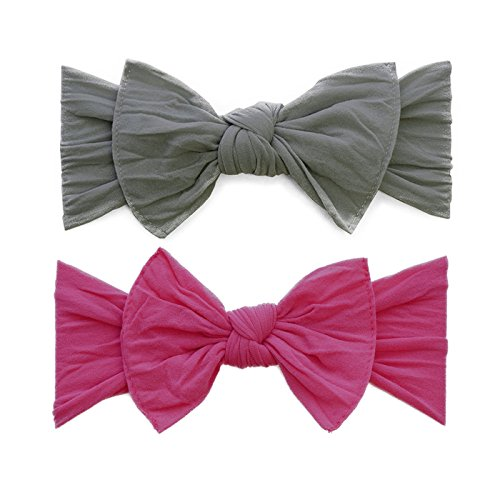 Baby Bling Bow 2 Pack: Classic Knots Girls Baby Headbands - MADE IN USA - Grey/Hot Pink