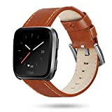 Fitbit Versa Bands, ProCase Genuine Leather Replacement Band Adjustable Wristbands Soft Comfortable Classic Bracelet Strap for Fitbit Versa Fitness Smart Watch, Women Men Large Small –Brown, Large