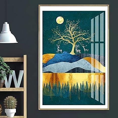 ganlanshu Pintura sin Marco Luna nórdica árbol y Ciervos Lienzo Pintura Paisaje póster decoración de la Pared Pintura Sala de Estar Dormitorio pasilloZGQ2609 30X40cm: Amazon.es: Hogar