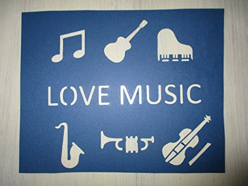 Vintage look LOVE MUSIC PIANO GUITAR SAX VIOLIN MUSIC NOTE TRUMPET old timey antique primitive look cardstock STENCIL for painting on wood, paper, fabric QTY 2 ()
