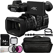 Panasonic HC-X1000 4K DCI/Ultra HD/Full HD Camcorder 9PC Accessory Kit. Includes 64GB Memory Card + 3PC Filter Kit (UV-CPL-FLD) + Heavy Duty Monopod Selfie Stick Pole + LED Video Light + HDMI Cable + Deluxe Camcorder Case + Microfiber Cleaning Cloth