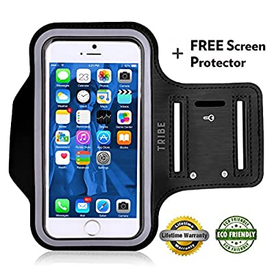 "Lifetime Warranty + FREE Screen Protector Eco-Friendly Tribe Sports Running Armband + Key Holder Anti Slip Sweat Resistant For Apple iPhone 6 Plus (5.5"") Samsung Galaxy S4 S5, Note 3"