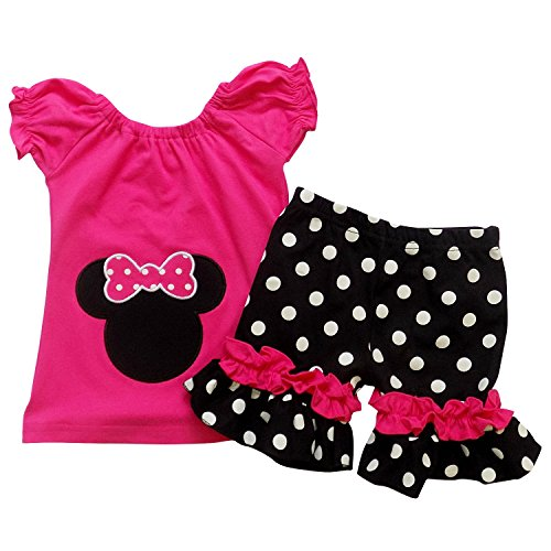 So Sydney Girls Toddler Pink Minnie Mouse Boutique Outfit, Top & Capri Shorts (XS (2T), Hot Pink) (Minnie Outfit)
