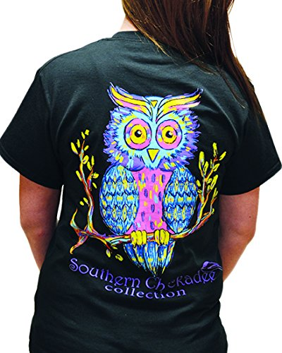 Farm Owl Screech - Southern Chickadee Owl Printed Short Sleeve Tee - Black (Large)