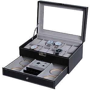 BASTUO Watch Box 12 Men Watch Organizer Case Jewelry Display Organizer Faux Leather Tray with Key&Lock, Glass Top, Black