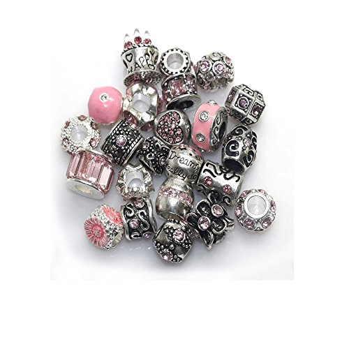 SEXY SPARKLES Ten Assorted Pink Shades of Rhinestone Color Beads Charms Spacers for Bracelet