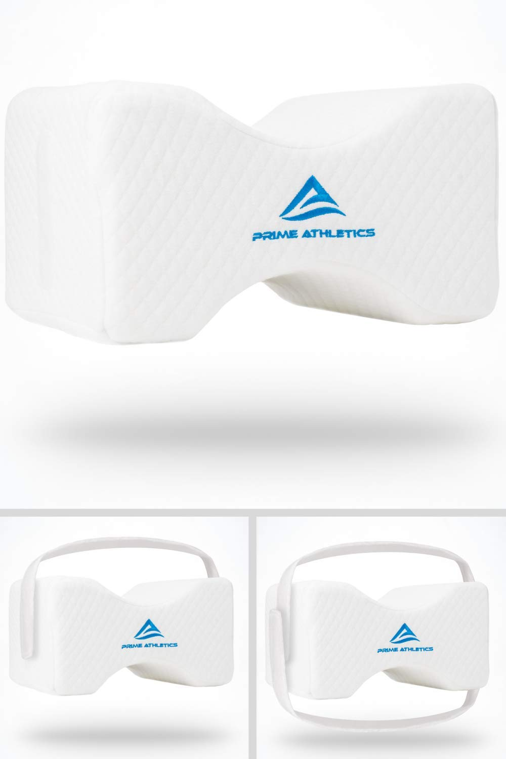 Prime Athletics Orthopedic Knee Pillow w/Adjustable & Removable Support Straps - Sciatica Back Pain Relief, Leg Pillow, Side Sleeper Pillow - Pregnancy & Hip Pain, Memory Foam Wedge Contour - (White) by Prime Athletics