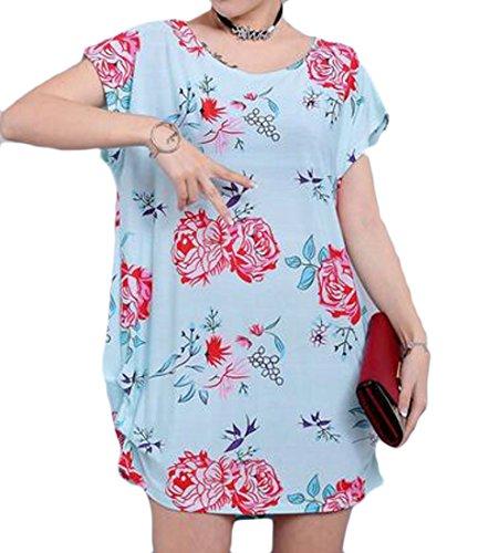 Grande Tang Womens Étoiles Imprimé Floral Ajustement Lâche Taille Plus Crewneck Changement Mini Robe 6