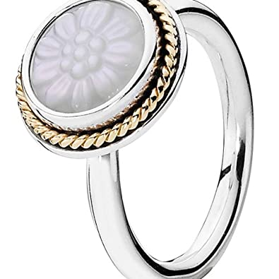 3a02f38b7 Pandora 190859MOP Women's Ring 925 Silver with White Mother of Pearl silver/gold  size:K (Manufacturers Size:50): Amazon.co.uk: Jewellery
