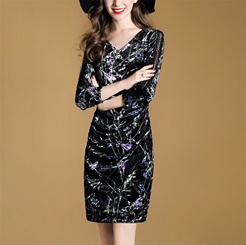 Honghu Damen Elegant Langarm Kleid V Kragen Taille Knielang ...
