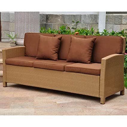 International Caravan Barcelona Patio Sofa in Honey and Dark Chocolate