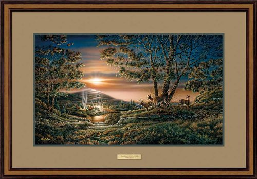 Wild Wings Sharing the Sunset Whitetail Deer Walnut Framed Elite Art Print by Terry Redlin