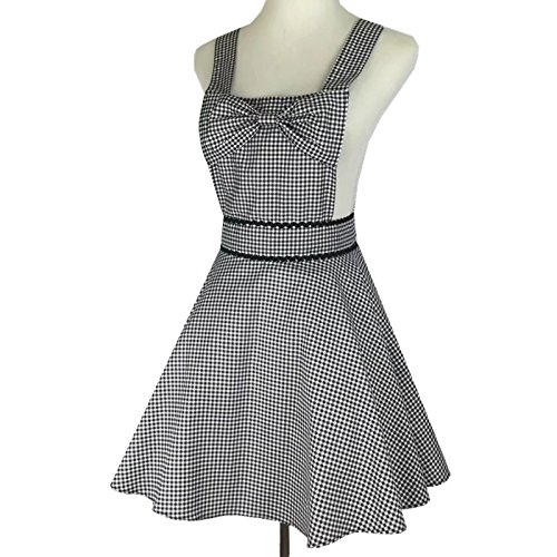 Zeronal Lovely Retro Apron Dress for Women Girls for Size S XS Super Cute Funny Bowknot Adjustable Straps Cotton Classic Striped Plaid Big Wave Skirt Black Gray