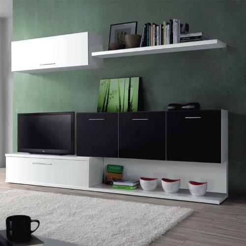 mueble de salon moderno color blanco y negro brillo duehome amazones hogar