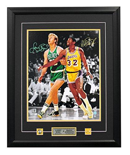 AJ Sports World Magic Johnson & Larry Bird Dual Signed Lakers vs Celtics Spotlight 25x31 Frame