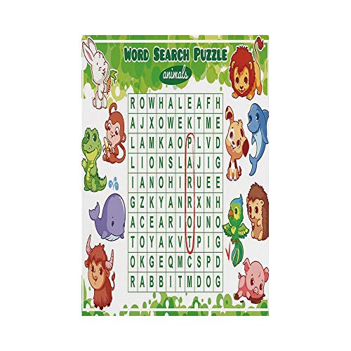 Polyester Garden Flag Outdoor Flag House Flag Banner,Word Search Puzzle,Educational Game for Kids Decorated with Cute Animals Worksheet Print,Multicolor,for Wedding Anniversary Home Outdoor Garden Dec