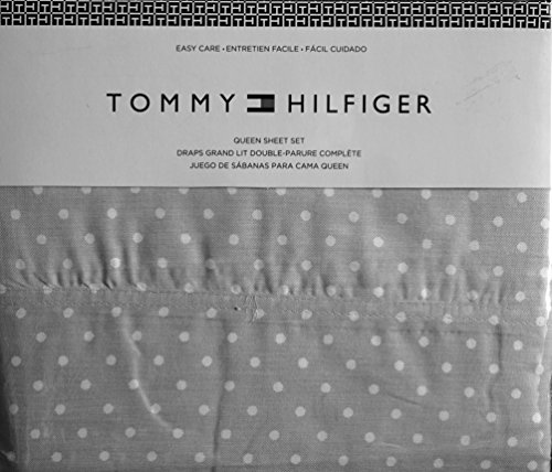 (Tommy Hilfiger 4 Piece Queen Sheet Set White Medium Polka Dots on Gray)