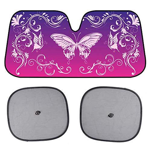 BDK AS609 Standard Pink Purple Swirl Butterfly Windshield Sun Shade for Car SUV Truck with Side Window Sunshades-(58 x 28 inch)