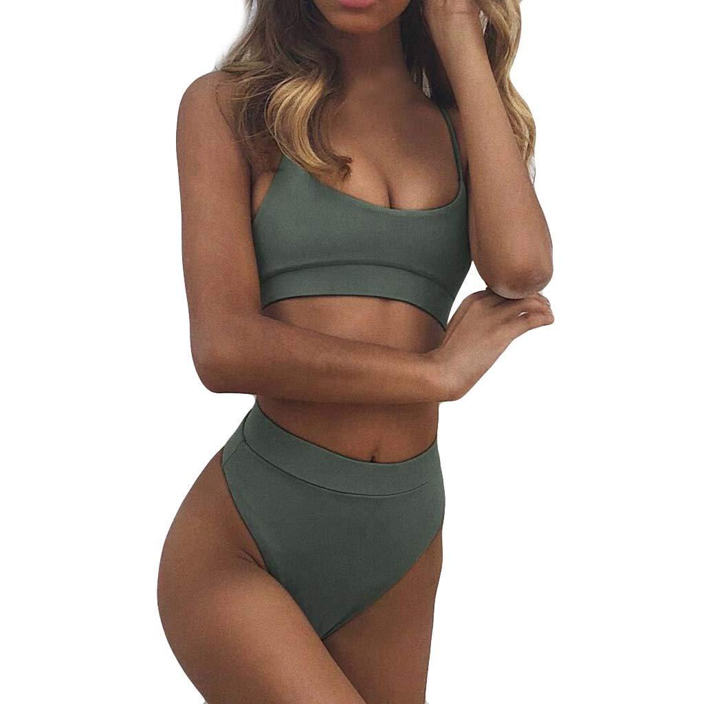Badeanzug Hffan Damen Sexy Bandage Neckholder Bandage Bikini Bademode Versuchung Rückenfreie Tankini Einteiler Push-Up Bra High Waist Bikini-Sets Beachwear Jumpsuits Swimwear