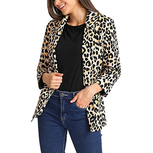 Orangeskycn Women Blazers for Party Leopard Notched Lapel Button Jacket Brown]()