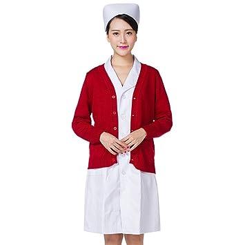 OPPP Ropa médica Doctor Enfermera Cardigan Abrigo suéter Grueso más tamaño cálido Traje de Enfermera Traje de Enfermera Chaqueta de azufaifo Rojo: ...