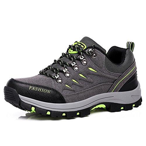 Fzuu Femmes Trekking Chaussures Couple Imperméable Et Respirant Chaussures De Randonnée Hommes Sneaker Chaussures D'escalade Gris