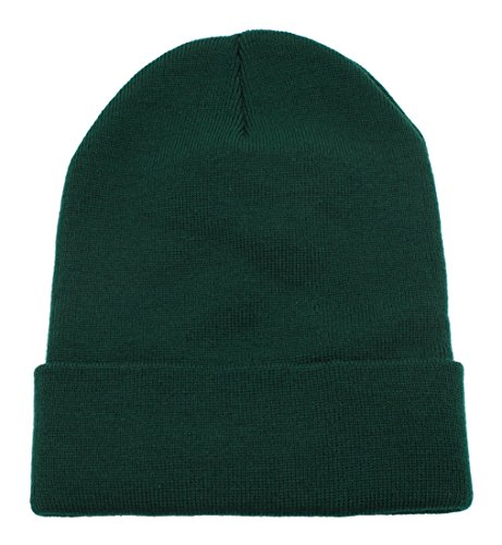 Top Level Unisex Cuffed Plain Skull Beanie Toboggan Knit Hat/Cap in 20 Colors (Dark Green)