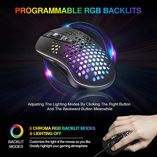 BENGOO RGB Gaming Mouse, Wired USB Mouse with Lightweight Honeycomb Shell, 7200 DPI Adjustable, 7 Programmed Buttons, Ergonomic Optical Computer Gamer Gaming Mice for Windows PC Laptop