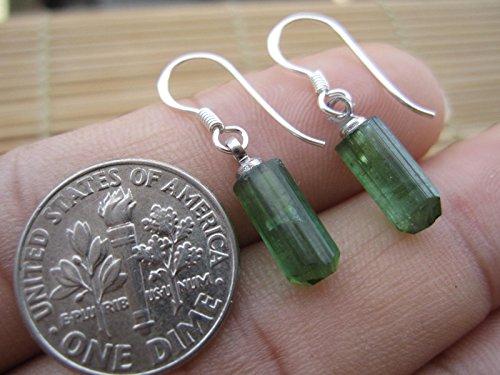 Raw Green Tourmaline earrings,Rough Green Tourmaline earrings,Tourmaline Stone earrings,Tourmaline drop earrings,Tourmaline Jewelry,Sterling earrings,Silver earrings,Tourmaline Stone earrings