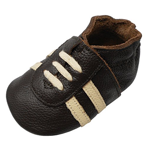 YIHAKIDS Baby Sneaker Genuine Leather Soft Suede Sole Toddler Shoes First Walker Moccasins Multi-Colors (8-8.5 US/18-24 MO./5.9in, Dark Brown) (Toddler Brown Multi Footwear)