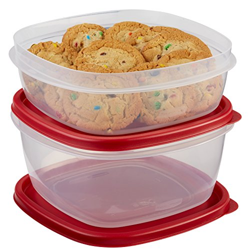2 Shelf Rubbermaid Saver Drawer - Rubbermaid Easy Find Lids Food Storage Container, 4-Piece Set, Red (1787251)