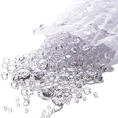 Luxury Clear Diamond Table Confetti. Over 3,000 Acrylic Scatter Gems in a Variety of 3 Different Sizes of Crystals, to Create a Beautiful, Sparkling Display for Your Party & Wedding Table Decorations