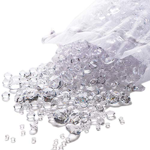 Luxury Clear Acrylic Diamond Table Confetti, Party & Wedding Decorations for Reception Tables [Pack 3,000]