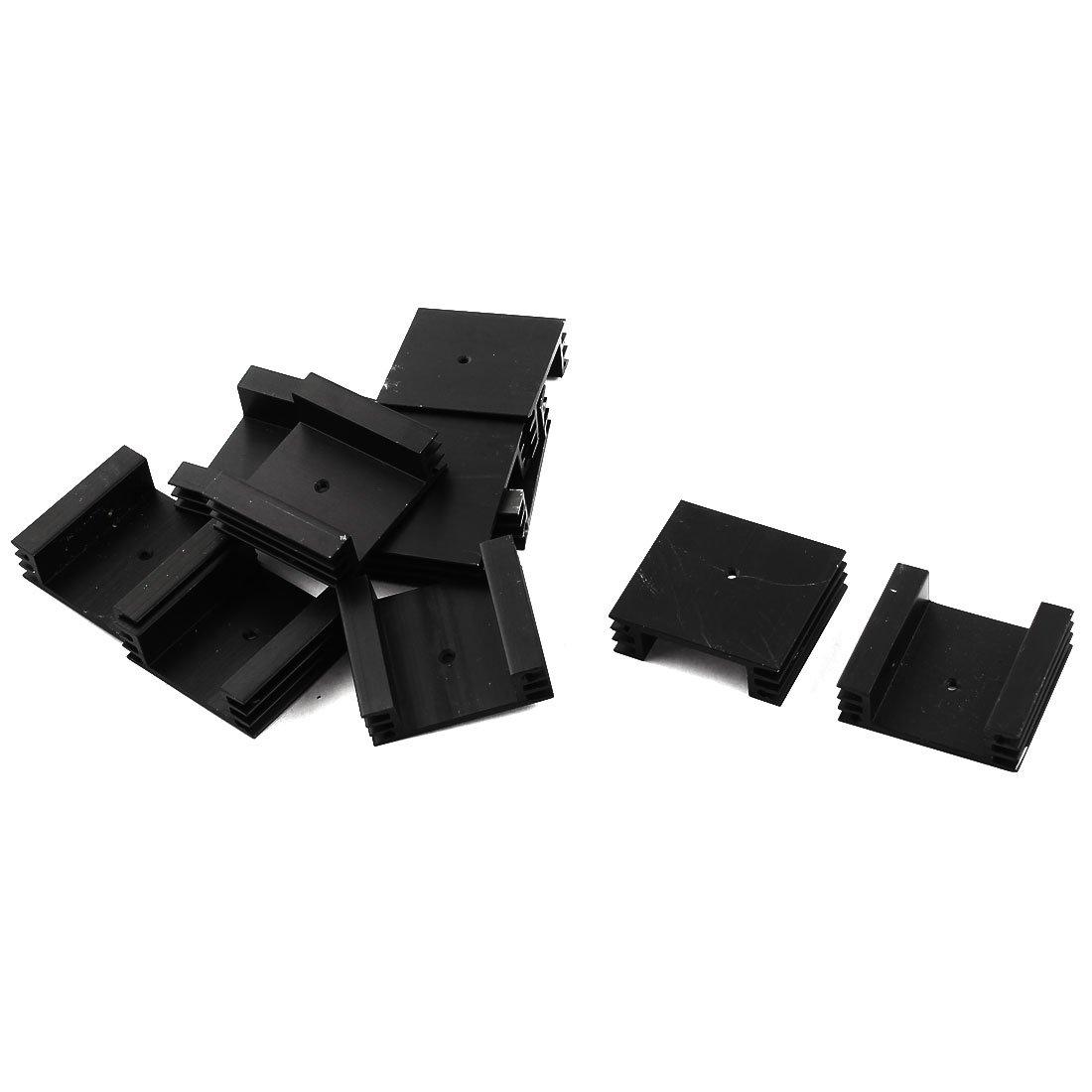 uxcell 10Pcs Aluminum Heat Radiator Heatsink Cooling Fin 44.3x40x13.6mm Black