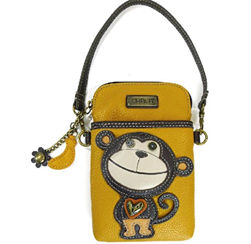 Chala Crossbody Cell Phone Purse - Women PU Leather Multicolor Handbag with Adjustable Strap - Monkey - Yellow