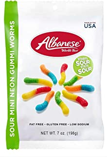 product image for Albanese Worlds Best Sour Mini Neon Gummi Worms, 7 Ounce Bag -- 12 per case.