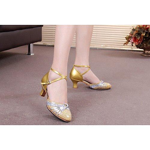 Baile Paillette y Mujer Zapatillas Tacón y T Cubano Sparkling Negro T astilla Negro Glitter sintético Q de Charol Astilla qTzIWWXwv