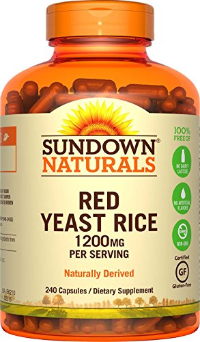 Sundown Naturals Red Yeast Rice 1200 mg Capsules (240 Count), Naturally Derived, Gluten Free, Dairy Free, Non-GMO, No Artificial - Rice Dairy Free
