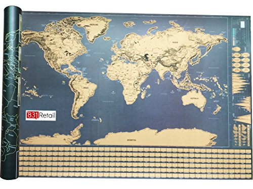 Scratch Off World Map, With US States and All Country Flags Of The World, Comes With Scratch Pen, For All Travelers and For a Great Gift, By 831 Retail