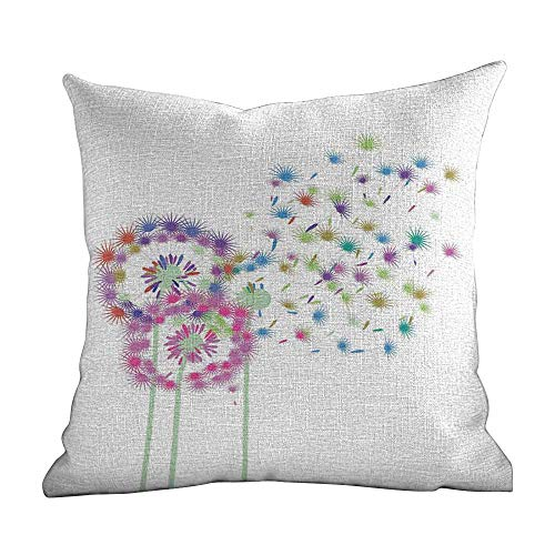 Custom Pillow,Dandelion,Colorful Blowball Flowers in Wind Seeds Flying Away Spring Season Inspiration,Multicolor,Apply to chair22 x22