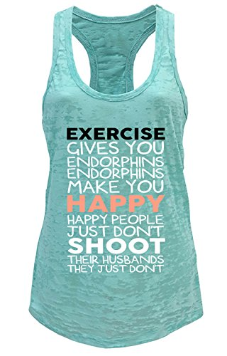 Tough Cookie's Women's Exercise Give You Endorphins Burnout Tank Top (Large, Mint)