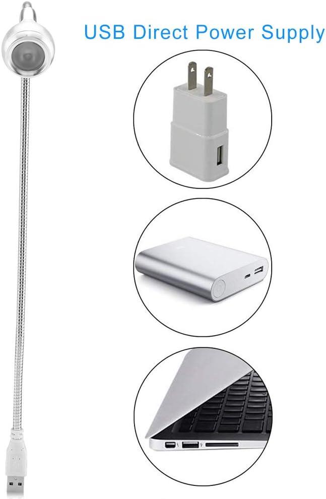 Flexible Desk Light Silver Pure White USB Lamp Desk Aluminum Alloy Keyboard Lighting Creative LED Mini Flexible Rotating Desk Light