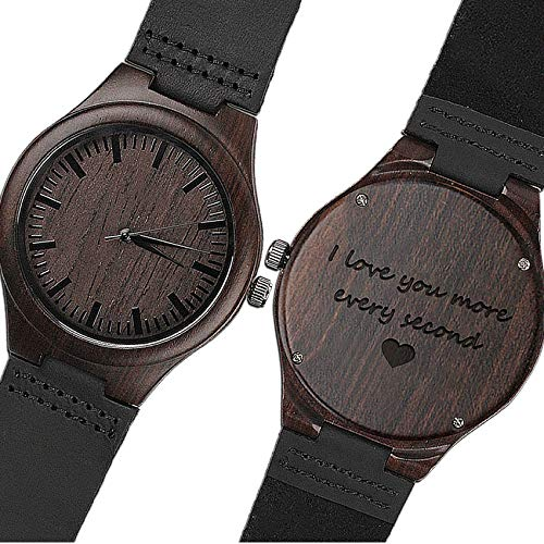 Pillow Phrase Gift - KOSTING Wood Watches for Men Black Leather Strap Wristwatches Genuine Leather Band with Gift Box - I Love You More Every Second - Personalized Gifts for Men Husband Gift Anniversary Gift