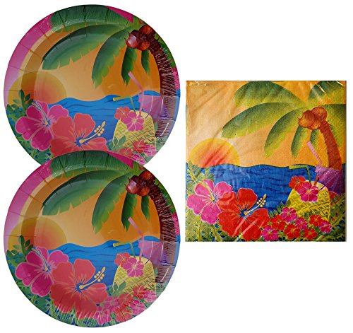 Tropical-Luau-Dinner-Party-Plate-and-Napkin-Bundle-Total-12-Dinner-Plates-and-16-Dinner-Napkins