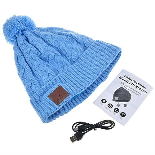 Bluetooth Beanie Hat Cap, Flashmen Wireless Bluetooth Hat with Headphone Headset Earphone Knitted Beanie with Stereo Speakers and Microphone Hands Free Talking for Women Men (Halloween Blues Playlist)